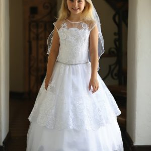 Beautiful Lace First Communion Dress with Corset Back