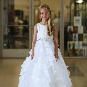 Beautiful Lace First Communion Dress with Layered Organza Ruffles