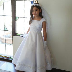 Bridal Satin Beaded A-Line First Communion Dress