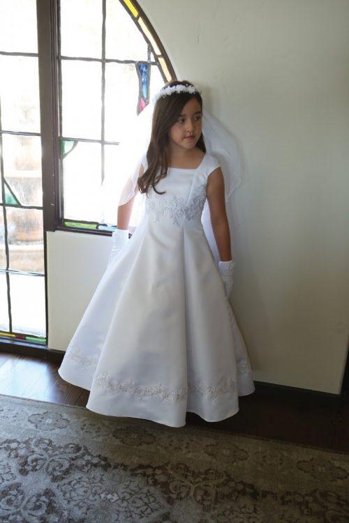 Bridal Satin Beaded First Communion Dress