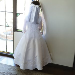 Bridal Satin First Holy Communion Dress with Beading