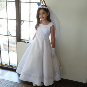 Bridal Satin Long Communion Dress