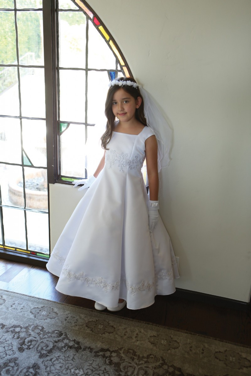 Bridal A Line Satin First Communion Dress Angel Garment