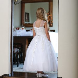 Catholic First Communion Dress with Corset Back and Beading