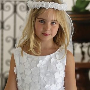 Catholic First Communion Dress with Floral Mesh Bodice