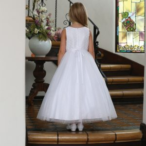 Catholic First Communion Dress with Beaded Lace Bodice