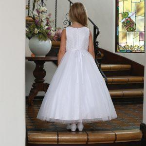 Catholic First Communion Dress with Beaded Lace Bodice