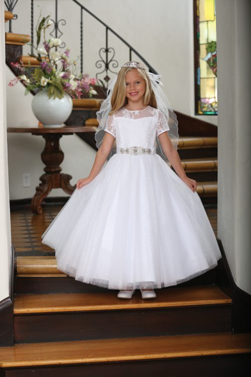 Catholic First Communion Dress with Lace Illusion Neckline