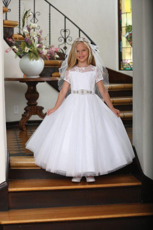 Catholic First Communion Dress with Lace Illusion Neckline