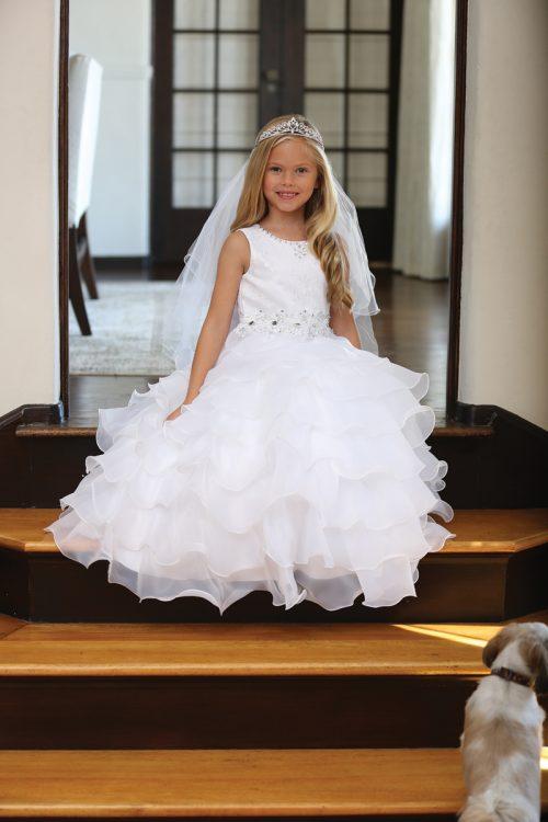 Catholic First Holy Communion Dress with Layered Organza Ruffles