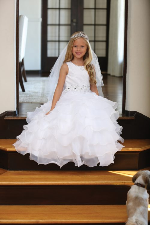 Catholic First Holy Communion Dress with Layered Organza Ruffles