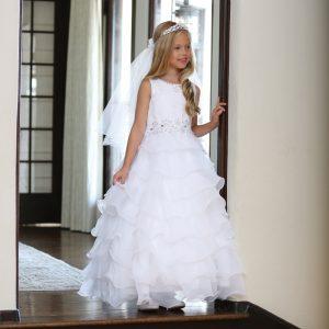 Catholic Lace First Communion Dress with Layered Organza Ruffles