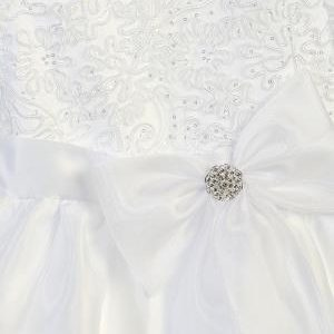 Corded Lace First Communion Dress with Large Bow