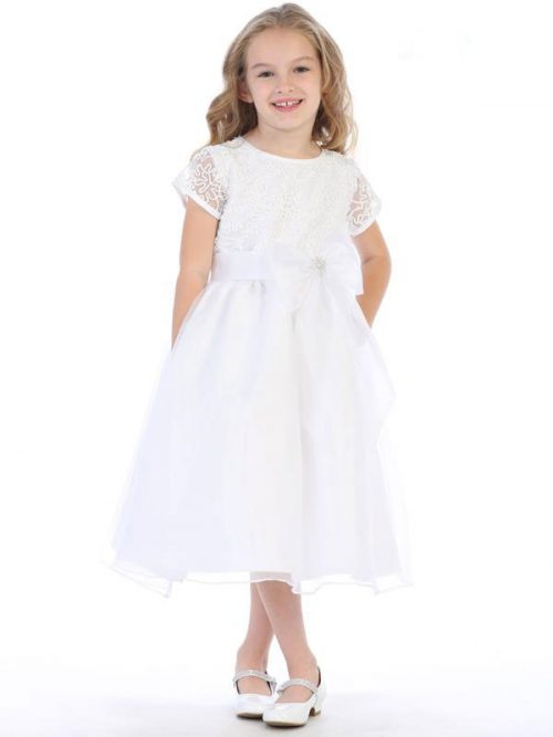 Corded Lace First Communion Dress with Tulle Skirt