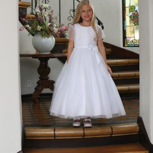 Couture Lace First Communion Dress with Handsewn Beads