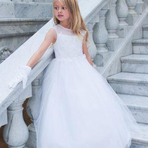 Cap Sleeves First Communion Dress Illusion Neckline