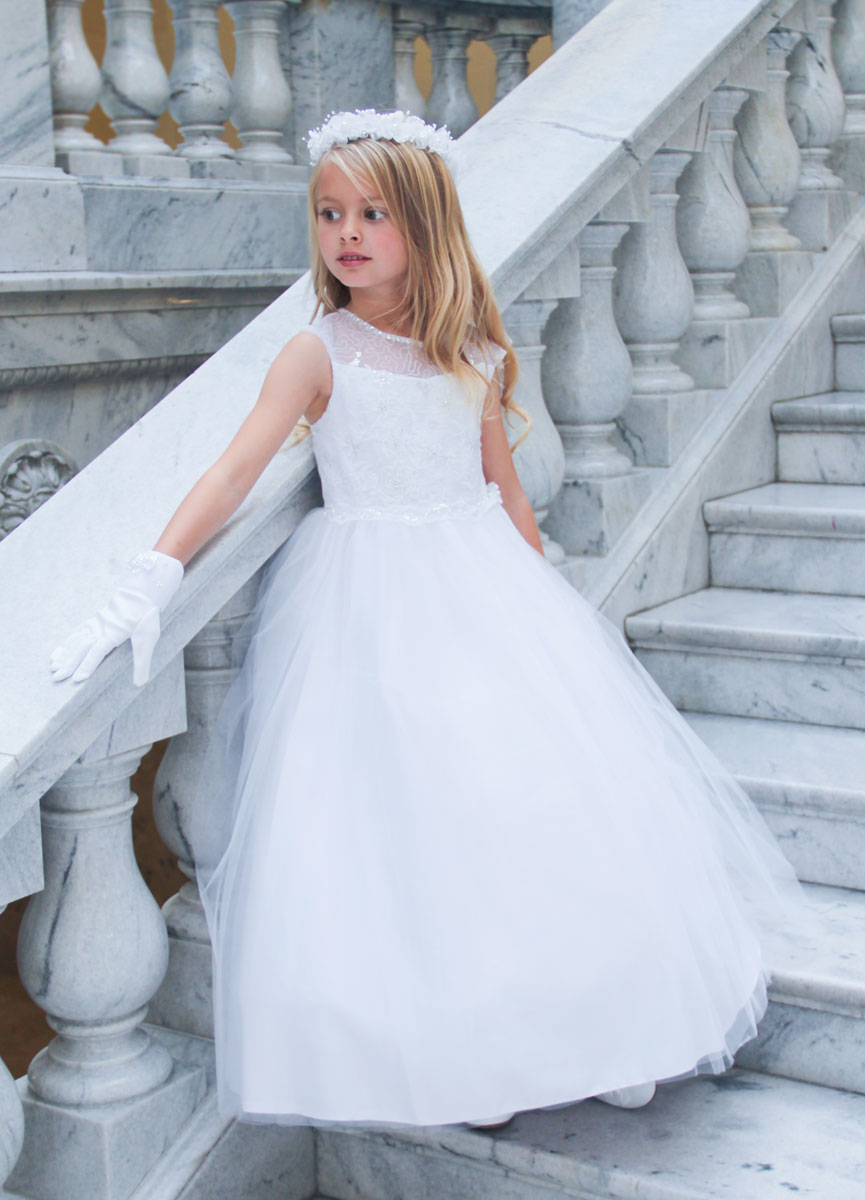 Cap Sleeves First Communion Dress Illusion Neckline