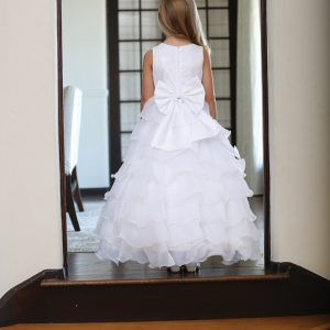 Couture Lace First Communion Dress with Layered Organza Ruffles