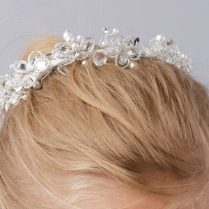 Crystal Beaded Holy Communion Bun Wrap Veil