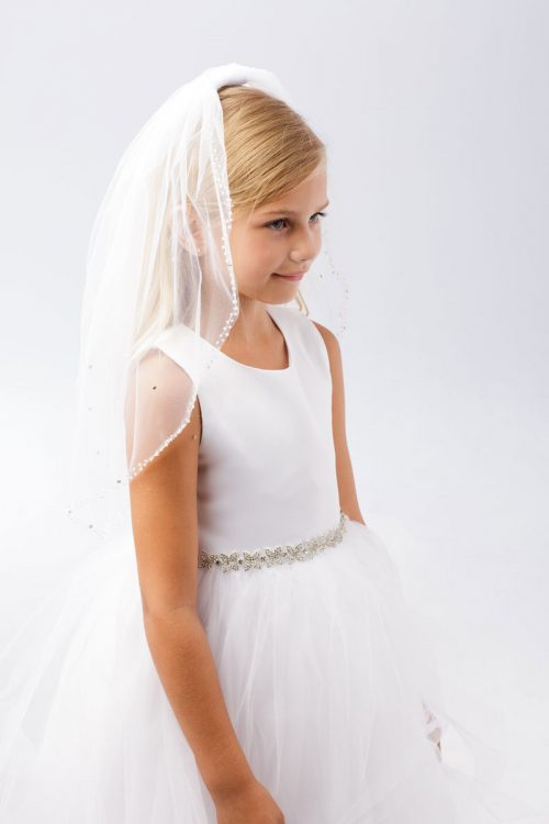 First Communion Veil with Beaded Crystal Edge