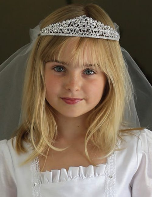 Crystal First Communion Crown Tiara Veil