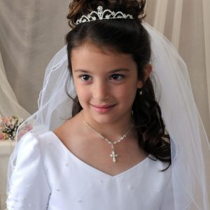 Crystal First Communion tiara with Rhinestone Flower