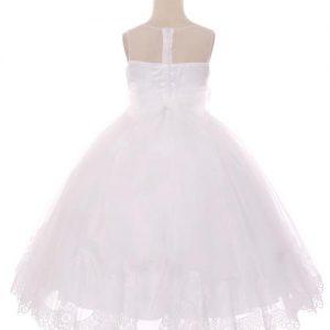 Designer First Communion Dress Illusion V Neck with Lace Hem