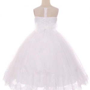 Designer First Communion Dress Illusion V Neck with Lace Hem