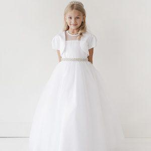 Designer First Communion Dress Rhinestone Belt Satin Bolero