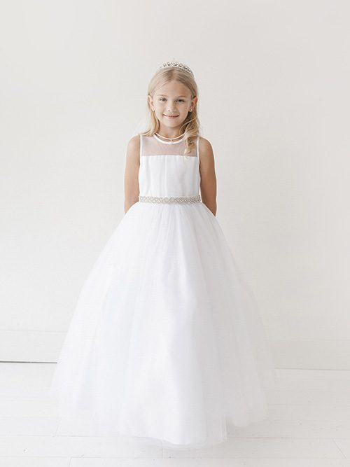 Designer First Communion Dress Rhinestone Belt Satin Sash