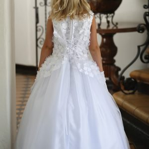 Designer First Communion Dress with Flowers