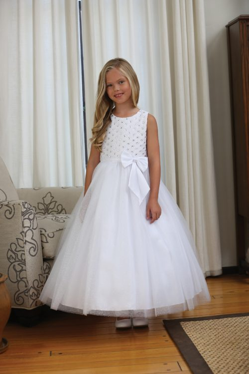 Designer Lace First Communion Dress with Beads