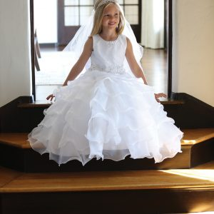 Designer Lace First Communion Dress with Layered Organza Ruffles
