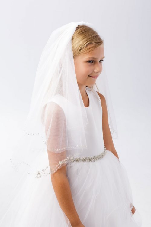 Elegant First Communion Veil with Beaded Trim