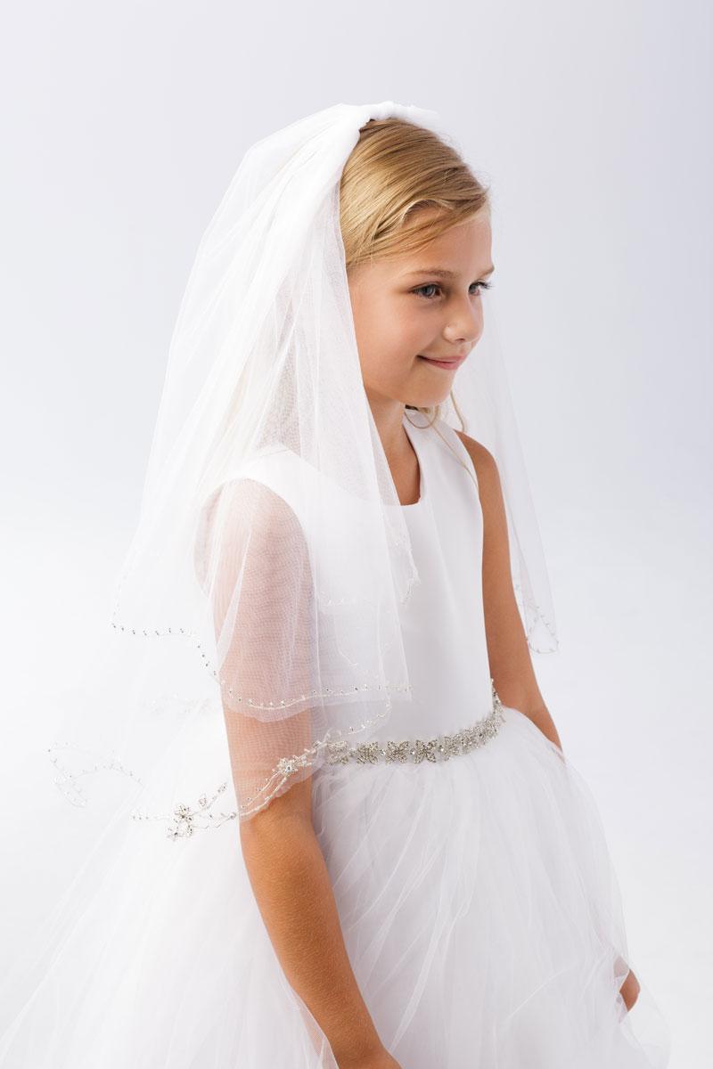 Elegant First Communion Veil with Beaded Trim