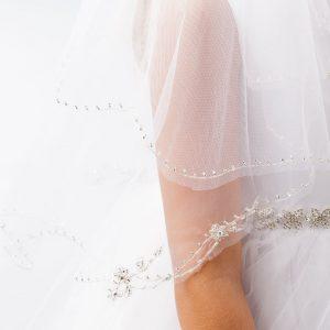 Elegant Communion Veil with Beaded Trim