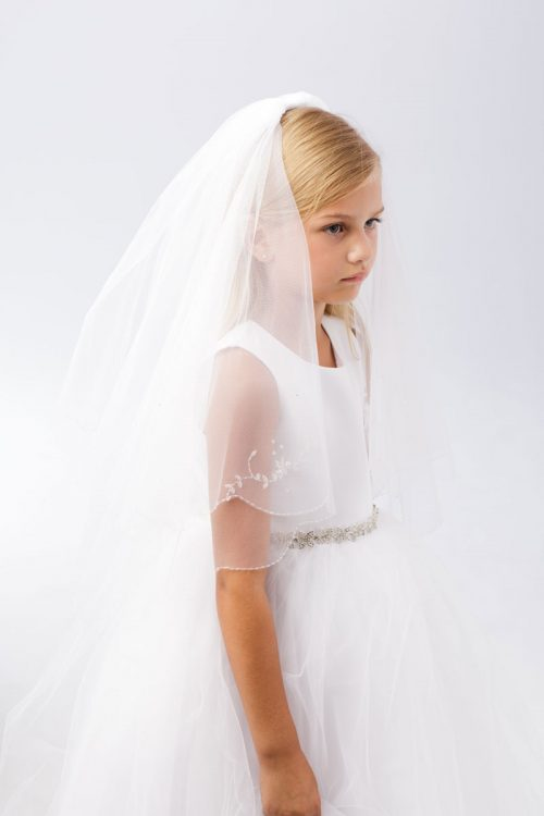 First Communion Veil with Crystals Floral Motif