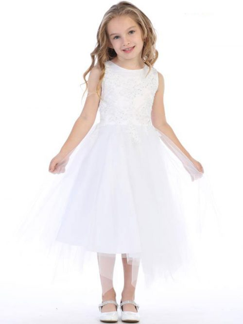 Embroidered Beaded Appliques First Communion Dress