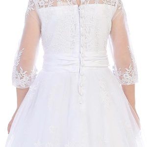 Embroidered First Communion Dress with Sleeves