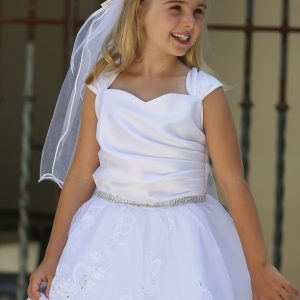 Embroidered Organza Communion Dress for Girls