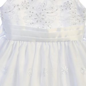 Embroidered Organza First Communion Dress Rhinestone Crystals