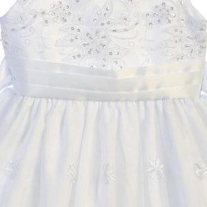Embroidered Organza First Communion Dress Rhinestone Crystals