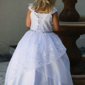 Embroidered Organza First Communion Dress with Corset Back