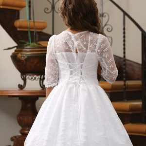 Embroidered Taffeta Communion Dress