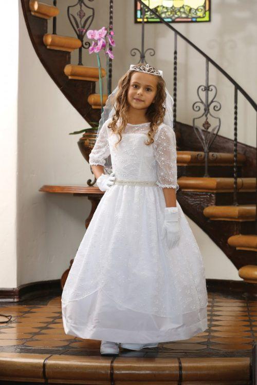 Embroidered Taffeta Catholic First Communion Dress