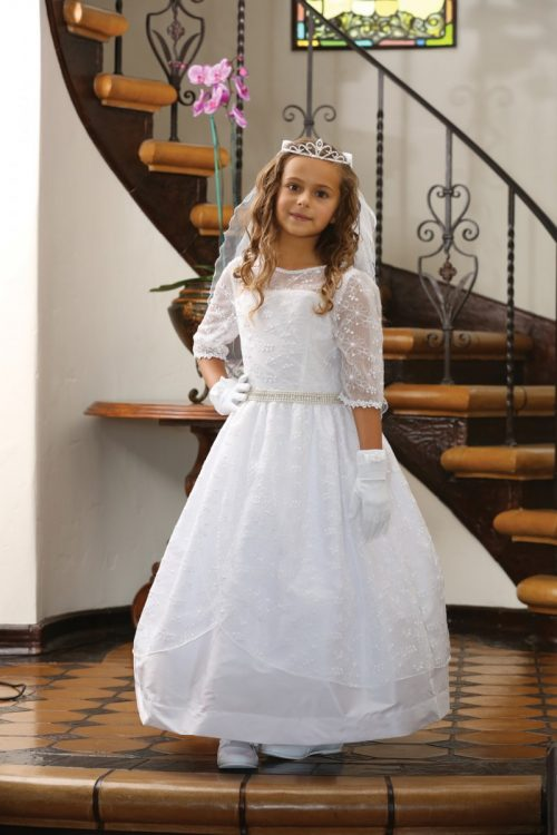 Embroidered Taffeta Catholic First Communion Dress