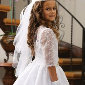 mbroidered Taffeta First Communion Dress with Sleeves
