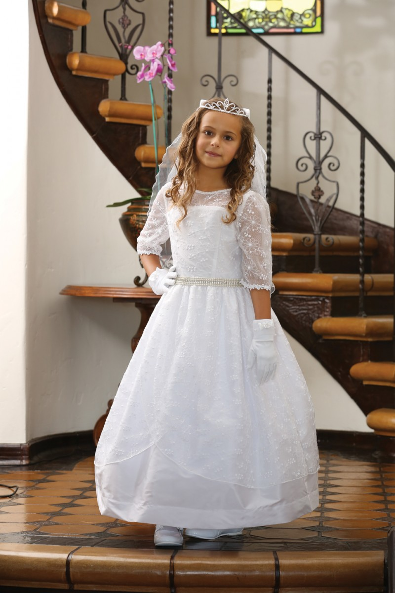 Embroidered Taffeta First Communion Dress with Sleeves