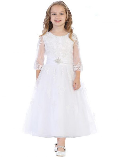 Embroidered Tulle First Communion Dress with Sleeves