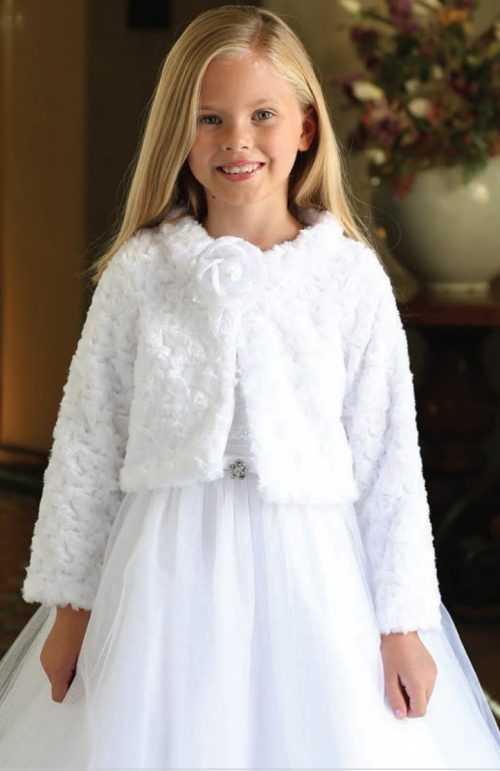 First Communion Bolero Jacket with Flower